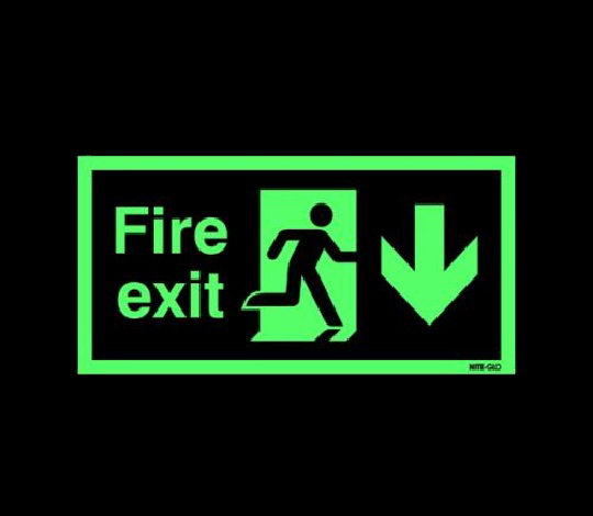 Glow EXIT sign with Runnin Man